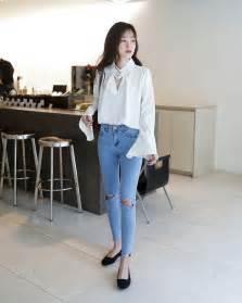 Sepatu Flat Cantik Fashion Korea korean fashion casual white shirt blouse ripped blue navy denim flats