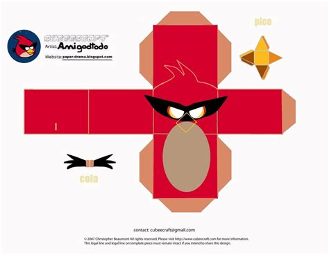 Angry Birds Papercraft - angry birds cubeecraft template