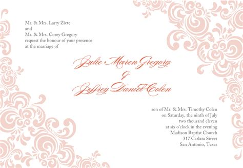 Baby Pink Wedding Invitation Template Word Document With Ornament Art Invitations Wedding Wedding Invitation Templates With Pictures