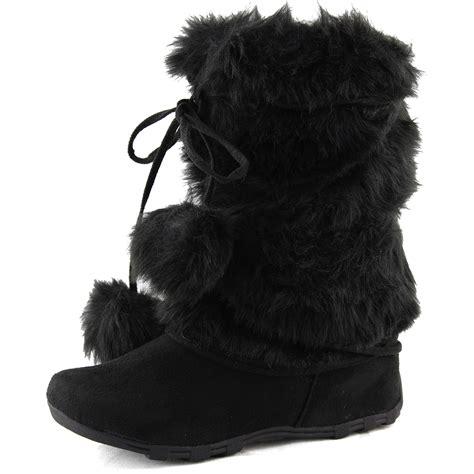 toe boots faux fur pom pom ball mukluks warm winter