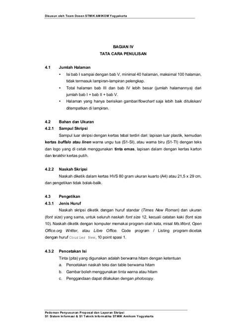 format penulisan laporan skripsi pedoman penyusunan penulisan proposal penelitian dan skripsi