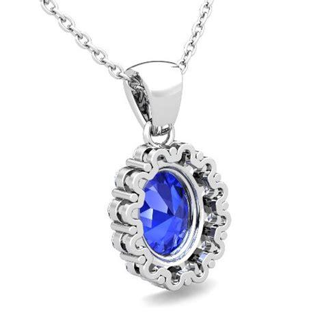 halo and ceylon sapphire necklace 18k gold pendant