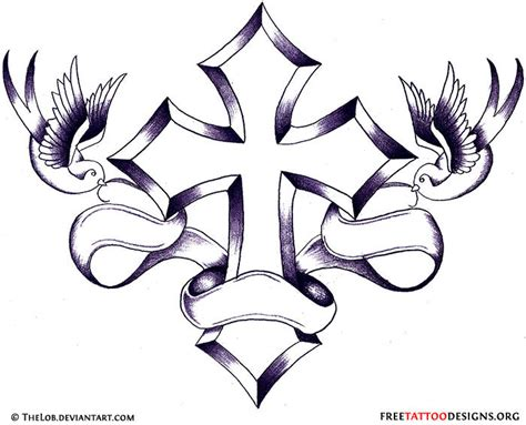 cross ribbon tattoo designs 50 cross tattoos designs of holy christian