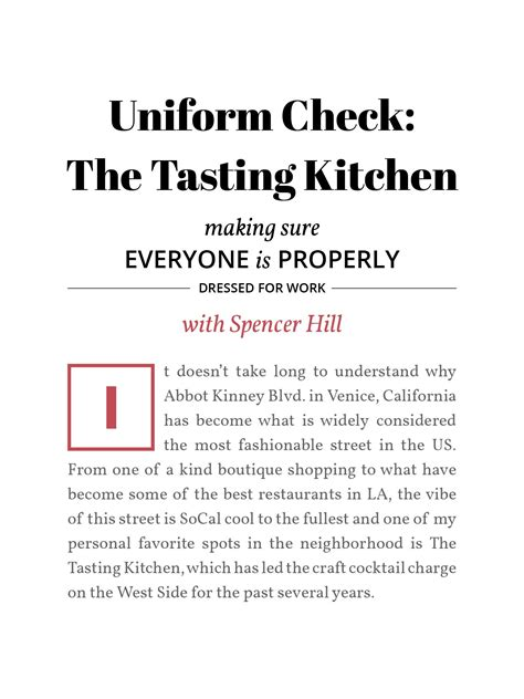 Tasting Kitchen Menu by Check The Tasting Kitchen With Spencer Hill Bar
