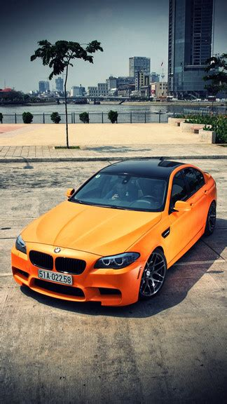 orange bmw  iphone  se wallpaper