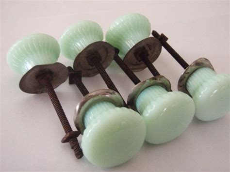 milk glass cabinet pulls vintage knobs milky green glass with hardware
