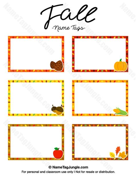 Fall Card Template by Free Printable Fall Name Tags The Template Can Also Be