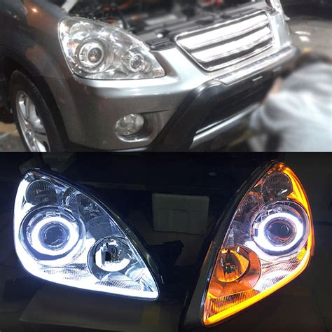 2005 honda crv light headlight assembly retrofit drl turn light halo lens for
