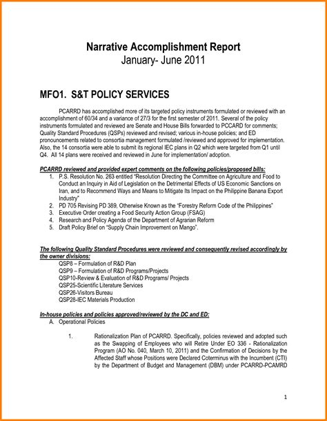 28 accomplishment report sle letter doc 7281199 accomplishment report format weekly