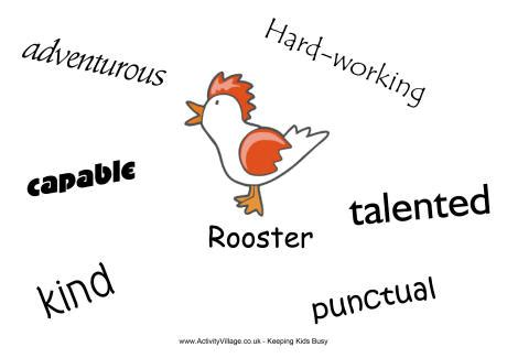 rooster characteristics poster