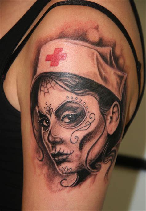 Proud To Be A Nurse Tattoo On Right Arm Dia De Los Muertos Tattoos Ideas