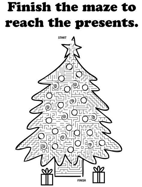 printable christmas tree maze tree maze