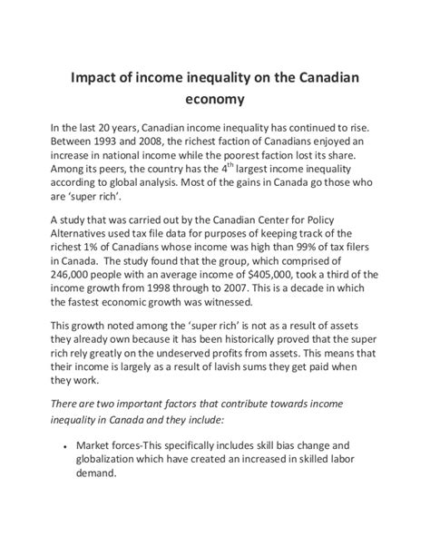 Income Inequality In Canada Essay by Impact Of Income Inequality On The Canadian Economy