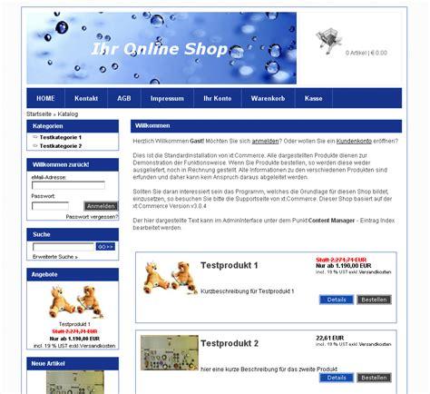 div templates blaues xt commerce div css template navigation links