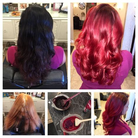 black hair stylist in knoxville tn before during after vivid red hair shiney healthy vivid