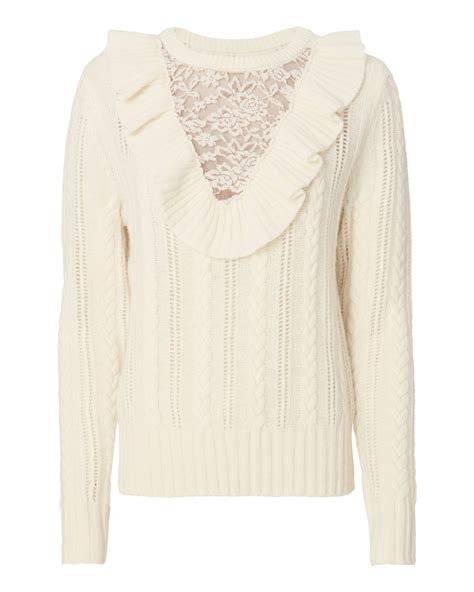 Lace Up Vneck Ruffle Knitted Sweater Series Sweater Knitsweater white lace sweater sweater