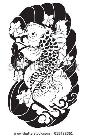 hand drawn koi fish tattoo stock vector 422570107