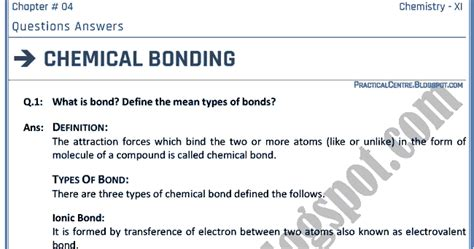 section 6 1 introduction to chemical bonding answers practical centre chemical bonding questions answers