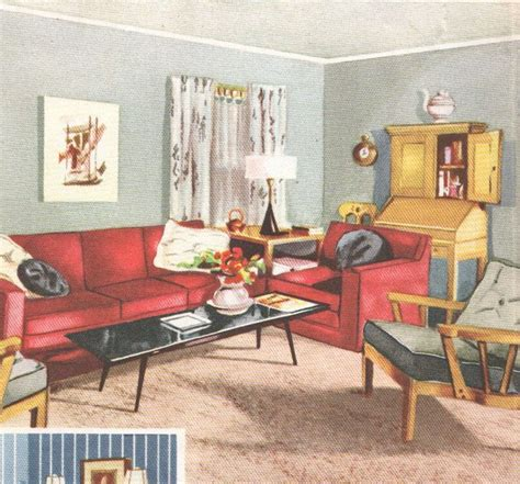 living room mid century decor 1950s house interior design