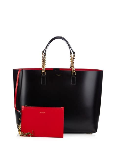 saint laurent monogram double faced leather tote  black