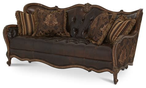 leather wood sofa lavelle melange leather fabric wood trim tufted sofa