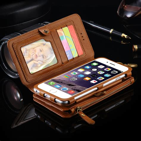 Casing Hp Cover Iphone 5 5s 6 6s 6 Plus 6s Plus Leather Metal retro business leather wallet phone for iphone 6s 6