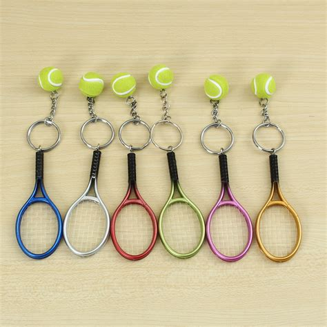 multi color sport tennis racket key chain collectable