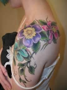 colorful flower tattoos colorful flower on shoulder