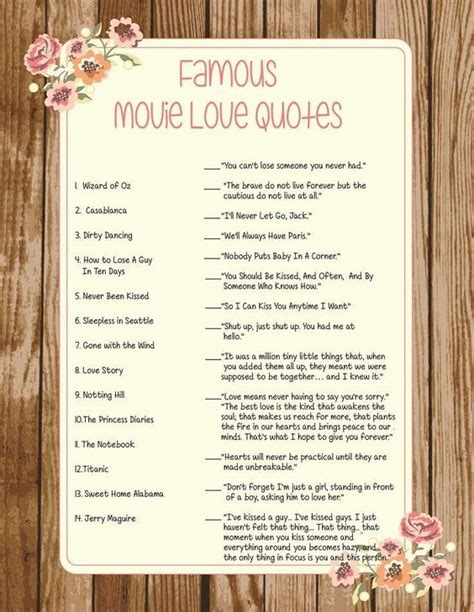 printable wedding quotes wedding bridal shower game famous movie love quotes