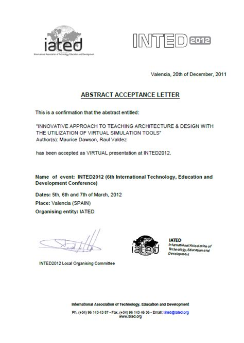 Abstract Acceptance Letter Sle Technology Knowledge And Society 6th International Technology Education And Development