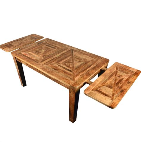 Rustic Extendable Dining Room Tables Rustic Mango Hardwood Parquet Extendable Dining Table