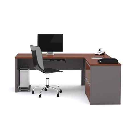 Bestar Connexion L Shaped Desk Bestar Connexion L Shaped Desk With 1 Oversized Pedestal In Bordeaux And Slate 93862 39