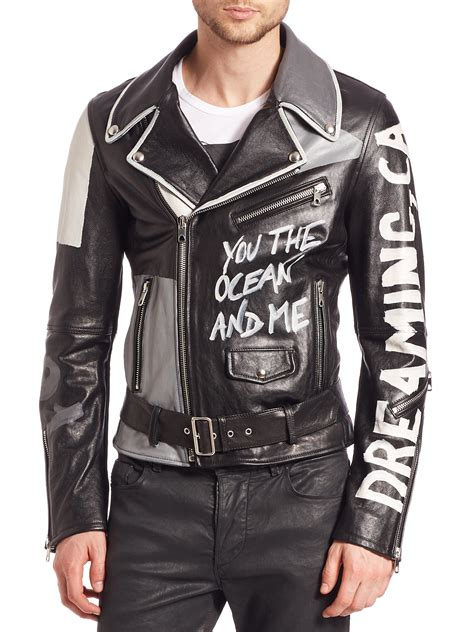 Jaket Print Black lyst diesel black gold graffiti print leather jacket in black for