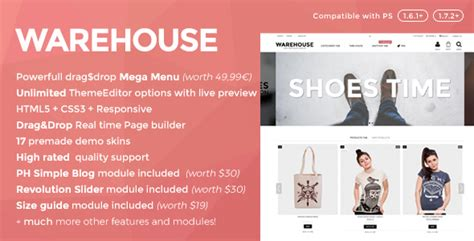 warehouse responsive prestashop 1 6 1 7 theme by iqit
