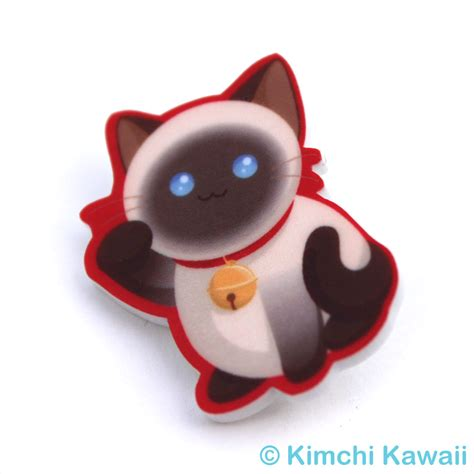 Cat Acrylic kawaii lucky cat acrylic pin 183 kimchi kawaii 183