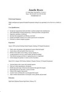 Resume For Hospital by Free Hospital Receptionist Resume Template Sle Ms Word