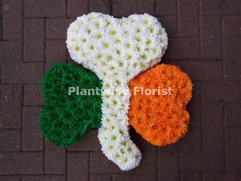 Flower Vase Stand Shamrock Funeral Flower Wreath In Irish Colours Orange