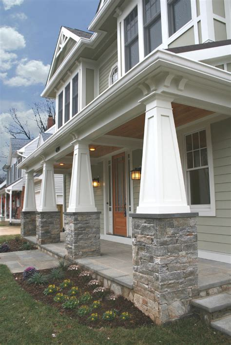Mosaic Tile Patio by Splashy Porch Columns Look Craftsman Style Exterior