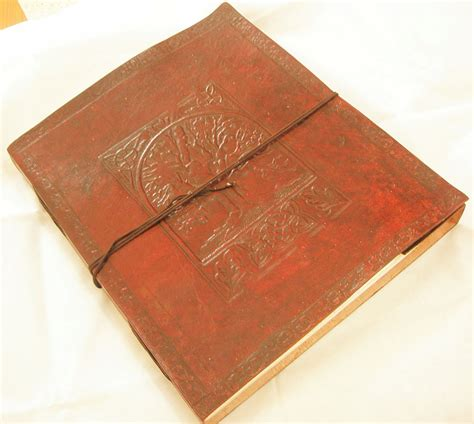 Handmade Leather Sketchbook - celtic tree of handmade leather journal blank