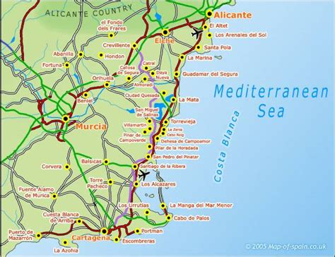 map of alicante area map of spain and costa blanca area