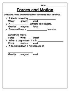 And Motion Worksheets 5th Grade by 11 Best Images Of 4th Grade Science Worksheet