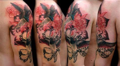 tatuaggi con rondini e fiori sparrows with dash flowers and mandala by kaifa