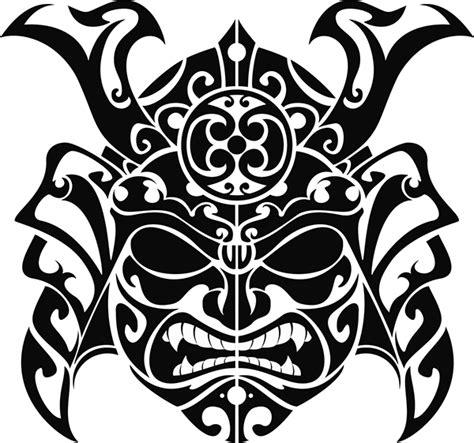 samurai mask illustration for tatoo in maori style on behance