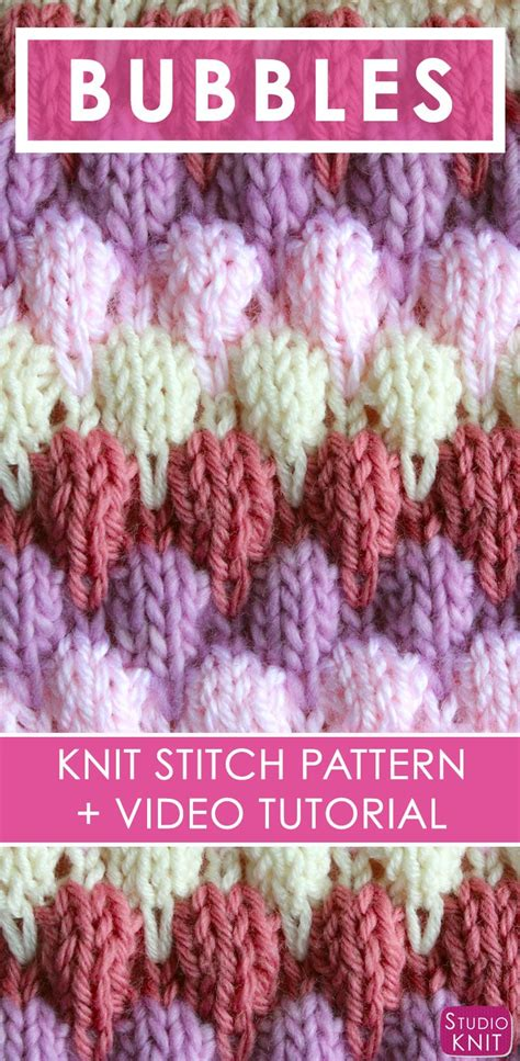 knitting pattern video tutorial how to knit the bubble stitch pattern with video tutorial