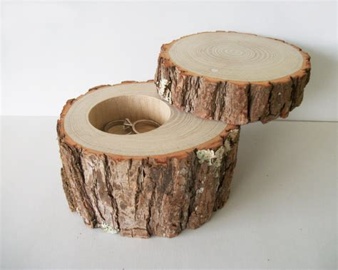 Handmade Wood Jewelry - handmade wood jewelry box with lid rustic ring bearer log