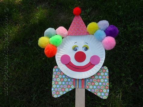 clown crafts for paper plate clown puppet crafts by amanda