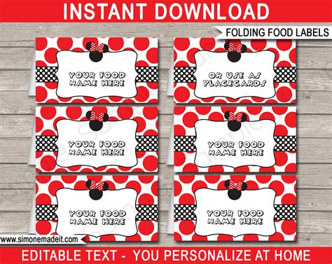 Free Template For Labels For Cards Western by Minnie Mouse Theme Food Labels Place Cards Minnie