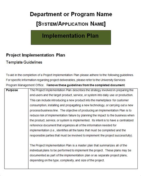 implementation project plan template project implementation plan template 5 free word excel