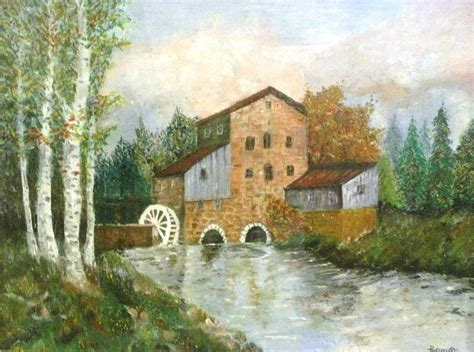 painting of houses an old house by the forest oil painting painting by