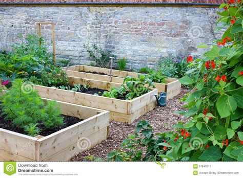 Raised Garden Beds Brick - rustic country vegetable amp flower garden with raised beds stock photo image 57845511